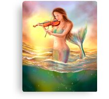 Beautiful  fantasy mermaid plays on violin on sunset Canvas Print