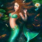 Beautiful Fantasy mermaid in lake with lilies by Alena Lazareva