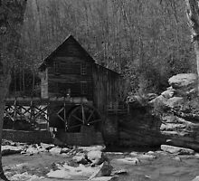 Glade Creek Grist Mill in March by Lisawv