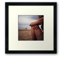 Young woman on beach medium format 6x6 Hasselblad analog portrait photo Framed Print