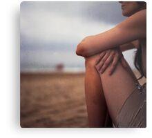Young woman on beach medium format 6x6 Hasselblad analog portrait photo Metal Print
