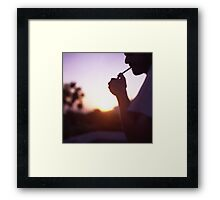 Young man smoking cigarette medium format Hasselblad film photo  Framed Print