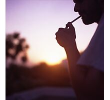 Young man smoking cigarette medium format Hasselblad film photo  Photographic Print