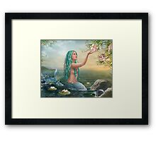 Mermaid in the Sunset with Green Hair & Lilies Framed Print