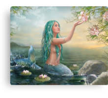 Mermaid in the Sunset with Green Hair & Lilies Metal Print