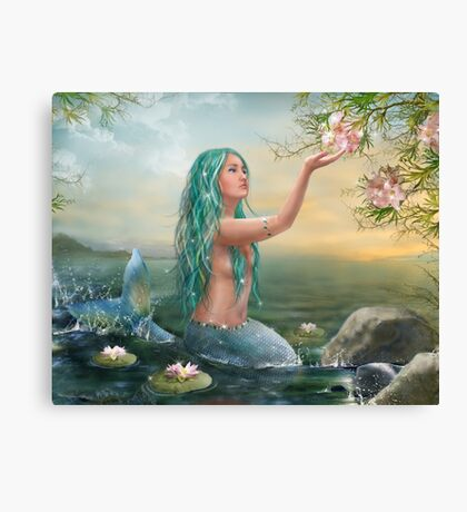Mermaid in the Sunset with Green Hair & Lilies Canvas Print