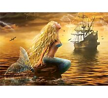 Beautiful Fantasy Sea Mermaid with Ship at Sunset background Photographic Print