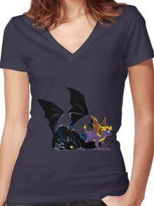 Spyro Toothless Women's Fitted V-Neck T-Shirt