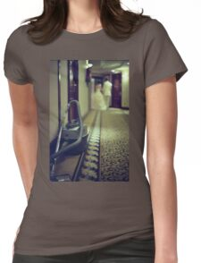 Wedding bride and groom and vacuum cleaner in hotel corridor Womens Fitted T-Shirt