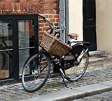 Black Bicycle with Big Basket by Catherine Sherman