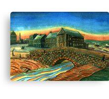 173 - WATERLOO BRIDGE, BLYTH - DAVE EDWARDS - WATERCOLOUR - 2007 Canvas Print