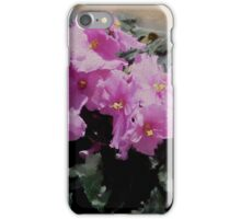 African Violet, pink flowers, impressionism, floral art iPhone Case/Skin