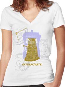Dalek EXTERMINATE Fade Shirt Women's Fitted V-Neck T-Shirt