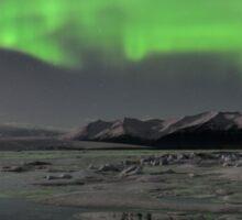Aurora Borealis - Jokulsarlon Glacial Lagoon, Iceland Sticker