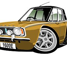 Ford Cortina 1600E gold caricature by car2oonz