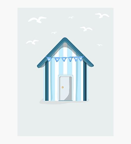 Little Blue Beach Hut Photographic Print