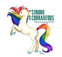 Be Strong and Courageous Rainbow Heavenly Horse by unicorndoodles