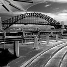 Harbour bridge in monochrome. by Michelle Dry