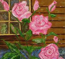 Royal Roses, pink flowers, impressionism art by artbykatsy
