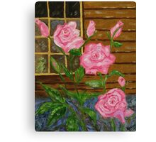 Royal Roses, pink flowers, impressionism art Canvas Print