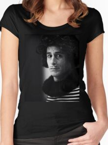 Sad circus clown black and white analog silver gelatin photo Women's Fitted Scoop T-Shirt