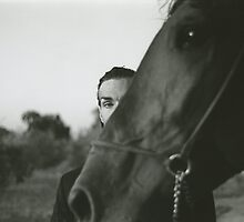Man and horse black and white analog silver gelatin photo by edwardolive