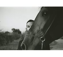 Man and horse black and white analog silver gelatin photo Photographic Print