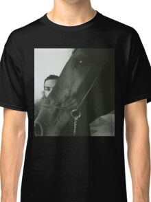 Man and horse black and white analog silver gelatin photo Classic T-Shirt