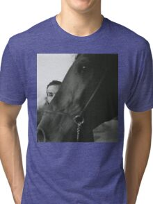 Man and horse black and white analog silver gelatin photo Tri-blend T-Shirt