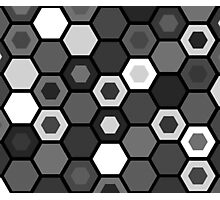 Black and White Hexagons Photographic Print