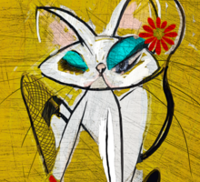 Rockin the Daisy Dukes: Retro Cat Mid Century Modern, Alma Lee Sticker