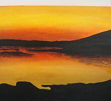 Acrylic painting of sunset by UshaKhanal