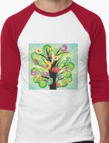 Colorful Birds in a Tree Men's Baseball ¾ T-Shirt