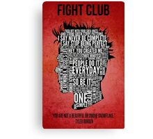 Typography Tyler Durden Uncensored Canvas Print