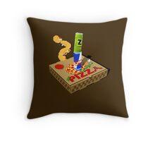 Retro Gaming Session -Pizza joystick- Throw Pillow