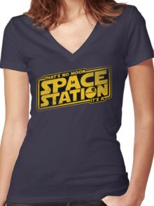 It's a Space Station Women's Fitted V-Neck T-Shirt