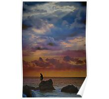 Fisherman on the Rocks Poster
