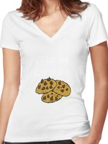 Iskybibblle Products / Feed me Cookies/ White Women's Fitted V-Neck T-Shirt