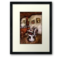 In The Barber Shop Framed Print