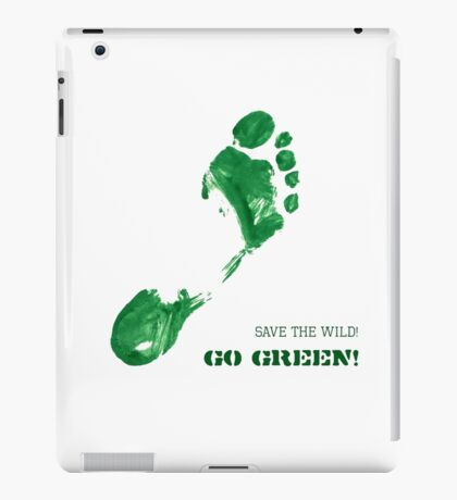 Green Painted Foot Imprint with Ecological Slogan iPad Case/Skin