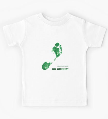 Green Painted Foot Imprint with Ecological Slogan Kids Tee