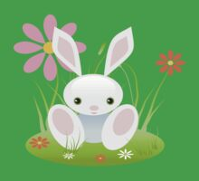 Little Blue Baby Bunny With Flowers Kids Clothes
