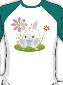 Little Blue Baby Bunny With Flowers T-Shirt