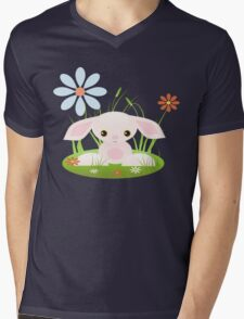 Little Pink Baby Bunny With Flowers Mens V-Neck T-Shirt