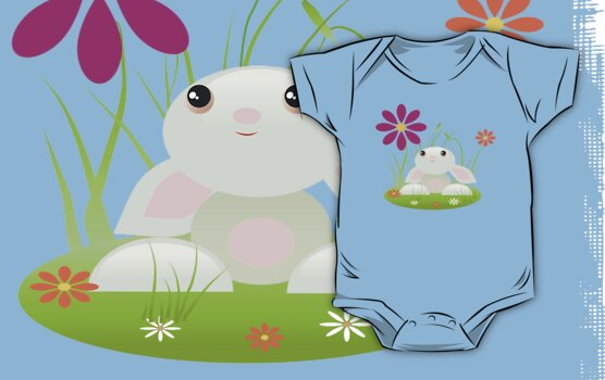 Little Green Baby Bunny With Flowers by ruxique