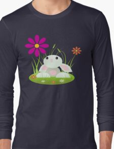 Little Green Baby Bunny With Flowers Long Sleeve T-Shirt