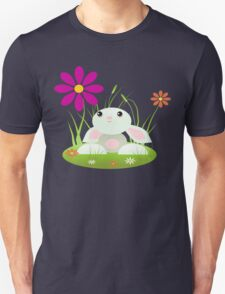 Little Green Baby Bunny With Flowers T-Shirt