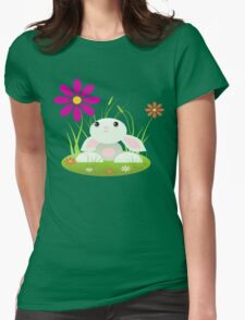 Little Green Baby Bunny With Flowers Womens Fitted T-Shirt