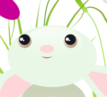 Little Green Baby Bunny With Flowers Sticker