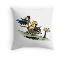 Calvin and Hobbes cosplaying Throw Pillow